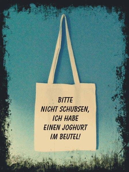 """Stoffbeutel - """"Bitte nicht schubsen......."""" - Stofftasche - ein Designerstück von odmomani bei DaWanda"""
