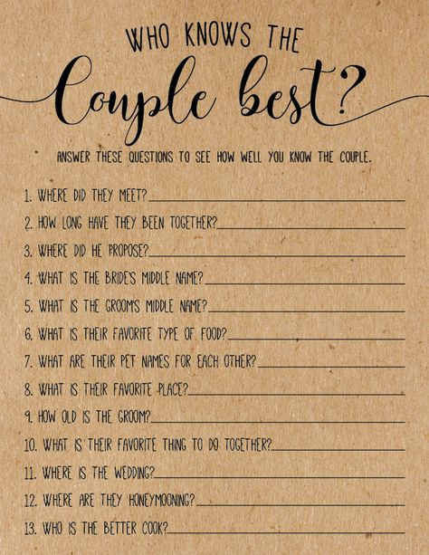 Love these bridal shower ideas! What cute bridal shower games. This one is kind of like the newlyweds game.
