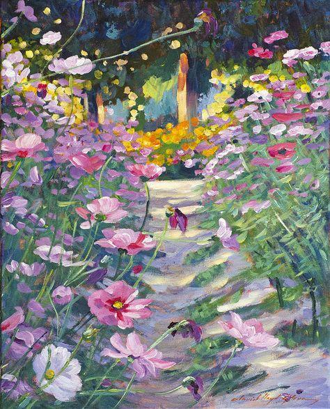 Garden Painting - Garden Path Of Cosmos by David Lloyd Glover