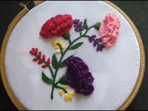 Hand Embroidery Carnation Flower Stitch Hand Embroidery For Beginners Youtube Embroidery For Beginners Silk Ribbon Embroidery Embroidery Designs