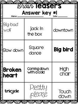 Word Puzzles Brain Teasers Rebus Word By Straightoutofpencils Teachers Pay Teachers Brain Teasers Word Puzzles Word Puzzles Brain Teasers