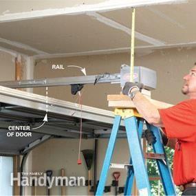 How To Install A Garage Door Opener The Family Handyman Garage Door Opener Installation Diy Garage Door Garage Door Opener Repair