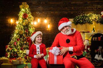 Happy New Year Family Holidays Santa Claus Man And Little Santa Boy With Christmas Decoration Christmas Time In 2020 Christmas Costumes Boys Christmas Santa Costume