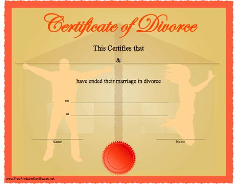 Divorce Certificate Printable Certificate Printable Divorce Papers Funny Certificates Fake Divorce Papers