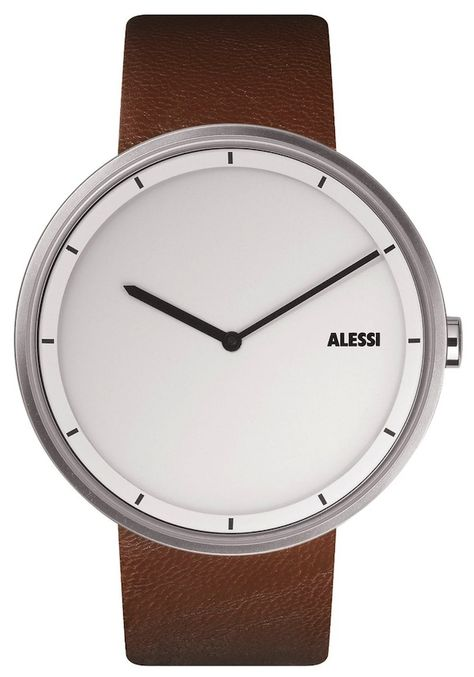 A classy, ultra-simple watch with a simple leather wristband is hard to beat. The Alessi AL13001 has a round stainless steel case, 41 mm diameter white face, and a 22 mm brown leather strap that complements any proper outfit.