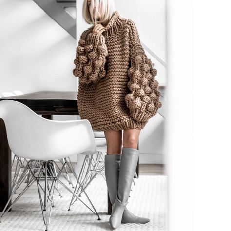 You and I Long Lantern Sleeve Chunky Texture Oversized Pattern Mock Neck Pullover Sweater - 4 Colors Available - Sold Out