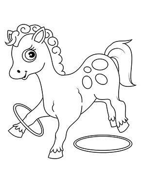 Ausmalbild Pferd Spielt Mit Ringen Zum Ausdrucken Horse Coloring Pages Horse Coloring Animal Coloring Pages