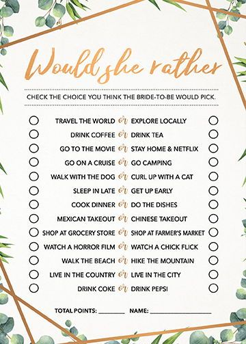 Would She Rather Digital Download Wedding Shower Game Couples Shower Game Downloadable File for Shower Game Bridal Shower Game