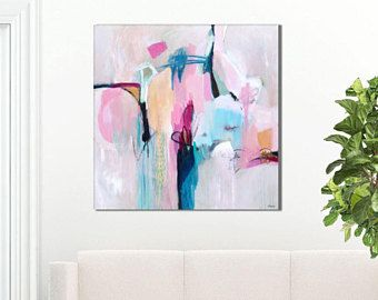 Abstract Painting Large Pink Blue Abstract Art Print Abstract Print Pink Blue Abstract Can Abstract Painting Pink Abstract Painting Abstract Painting Print