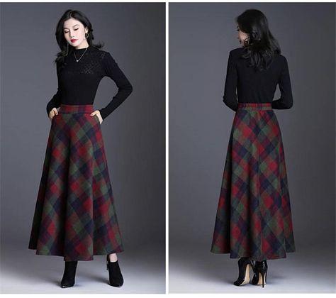 Plaid Tall Waist Long Skirts For Women Autumn Winter Elegant Korean Fashion Maxi Skirt Mom Plus Size - Green / XL