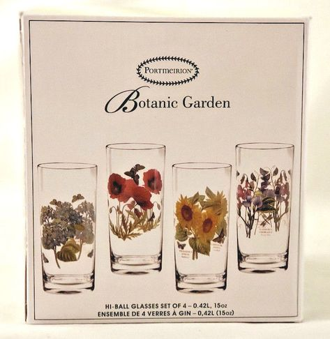 Portmeirion Botanic Garden Set Of 4 15oz Floral Highball Glasses