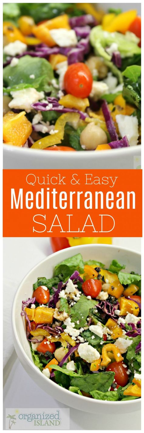 Quick and easy Mediterranean salad that is great as a side dish or a meal! #mediterranean #salad #saladrecipe #recipes #easyrecipes #easyrecipe #feta #tomatoes #simplerecipe