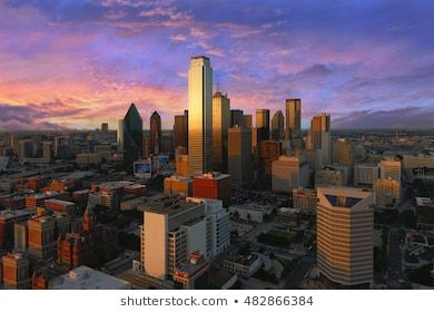 Dallas City Skyline At Dusk Sunset Texas Downtown Business Center Commercial Zone In Big City View From Reunion Tower Dallas City Texas Image City Skyline