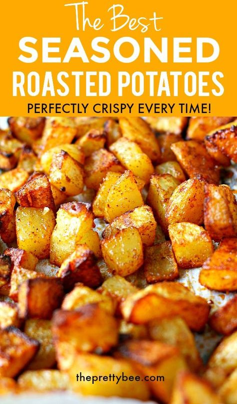 Golden brown, baked in flavor, these perfectly crisp and tender roasted potatoes are just the thing Potato Side Dishes, Vegetable Dishes, Vegetable Recipes, Seasoned Roasted Potatoes, Roasted Potato Seasoning Recipe, Roasted Potatoes Breakfast, Recipe For Roasted Potatoes, Best Potatoes For Roasting, Breakfast Potato Recipes