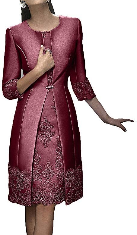 Charmant Damen Burgundy Elegant Langarm Knielang Abendkleider Brautmutterkleider Ballkleider Kurz Festlichkleider 32 B Mutter Kleider Festliche Kleider Kleider
