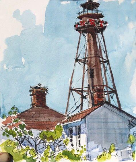 Sahri Blaukopf Sanibel Island Lighthouse Drawing Sanibel