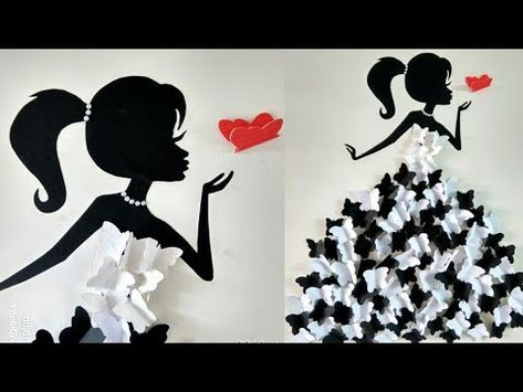 Diy Rom Decor Ideas Making Girl With Butterfly Dress Wall Decor With Butterfly Butterfly Girl Youtube Butterfly Wall Decor Girls Wall Decor Diy For Girls