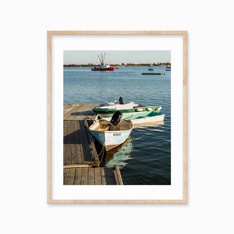 Martha/'s Vineyard Nautical Art Old Boat Photography Framed Photo Print Menemsha Cape Cod Coastal Beach Decor Large Artwork Teal Rust Red