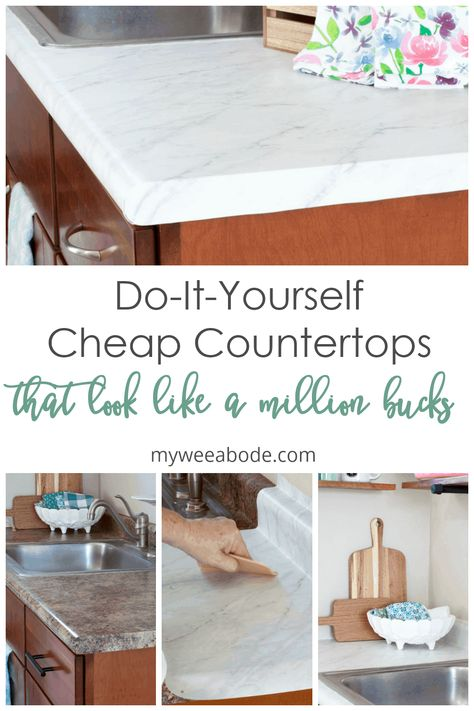 Learn how to update your kitchen countertops with removable contact paper! This diy tutorial will. The post DIY Cheap Countertops with Contact Paper & my wee abode appeared first on Claire Layton Interiors. Countertop Covers, Countertop Makeover, Home Design, Design Ideas, Interior Design, Cheap Countertops, Diy Contact Paper Countertops, Diy Contact Paper Cabinets, Marble Countertops