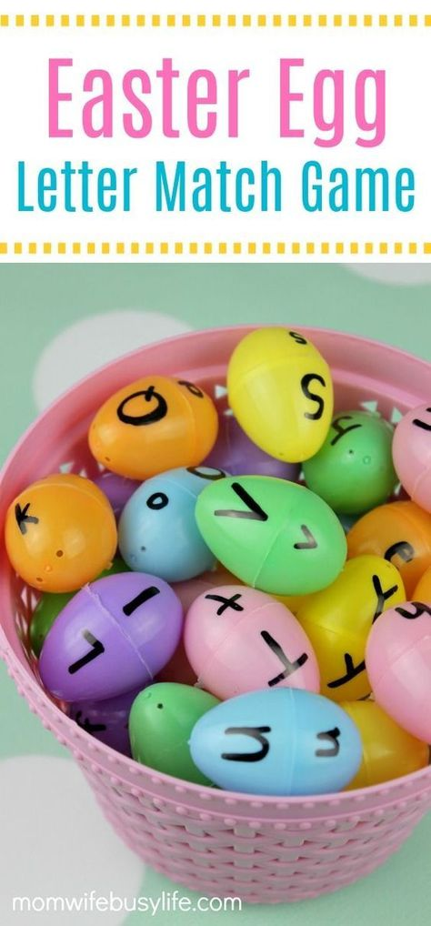 Easter Egg Letter Matching Game for Kids - Practice the upper case and lower case letters of the alphabet - learning games activities for kids Easter Egg Letter Matching Game - Mom. Alphabet Learning Games, Learning Games For Kids, Alphabet Activities, Educational Games For Toddlers, Teaching Kids, Easter Activities For Kids, Toddler Activities, Preschool Activities, Crafts Toddlers