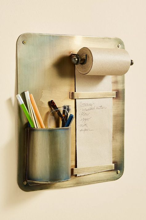Wall-Mounted Scroll and Pencil Holder - Anthropologie - This clever organization piece offers a paper roll for writing reminders and keeping pens, pencils, and scissors handy at a moment's notice. (This post contains affiliate links. Locker Accessories, Ceramic Stool, Home Management Binder, Incense Holder, Binder Covers, Desk Organization, Office Decor, Desk Office, Metal Working