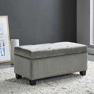 Sally Velvet Tufted Storage Ottoman Grey Gray In 2020 Tufted