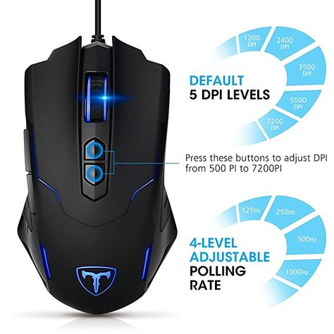 Gaming Mouse Wired,USB Wired Gaming Mouse with 8 Programmable Buttons//RGB Backlit//7200 DPI Adjustable,Ergonomic PC Computer Gaming Mice for PC Gamer
