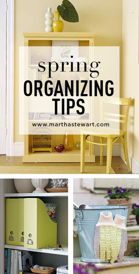 Spring Organizing Tips | Martha Stewart Living - Spring-cleaning means not only giving everything a good wipe-down but decluttering your space to welcome the warmer seasons ahead. Follow these tips and you'll breathe a sigh of spring relief.