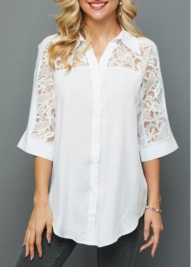 Lace Panel Asymmetric Hem Turndown Collar Blouse - Women's style: Patterns of sustainability