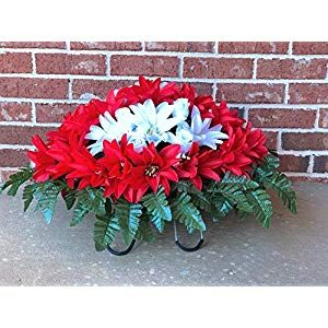 Cemetery Flowers For Headstone And Grave Decoration Red And White Dahlias Mix Saddle Silk Flower Arrangements Cemetery Flowers Flower Service Memorial Flowers