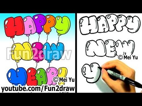 How To Draw Happy New Year Bubble Letters Easy Things To Draw
