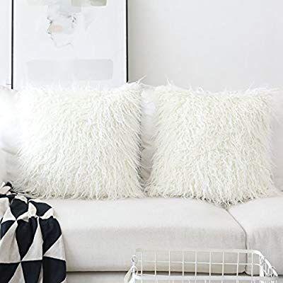 Amazon Com Home Brilliant Set Of 2 Decorative Faux Fur Euro Sham Large Fuzzy Throw Pillow Cover For Bed 24 X24 60x60 Throw Pillows Pillows Fur Throw Pillows