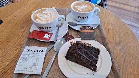 Midday snack #CostaCoffee #Keynsham #FlatWhite #chocolatecake #midday #snack #grandadisanoldman #grandadiaom #grandad #giaom
