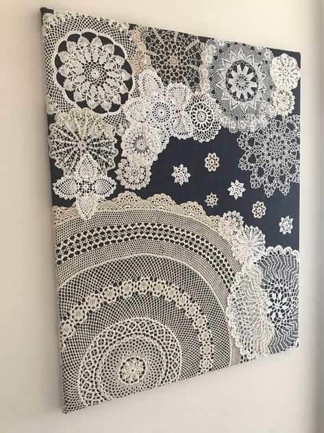 """Doily Art Wall Hanging - """"Snowy Night"""" - Vintage Doilies on Burlap - Unique Artw. Doily Art Wall Hanging - """"Snowy Night"""" - Vintage Doilies on Burlap - Unique Artwork - Upcycled Crafts, Diy And Crafts, Arts And Crafts, Doilies Crafts, Crochet Doilies, Lace Doilies, Crochet Crafts, Crochet Ideas, Crochet Patterns"""