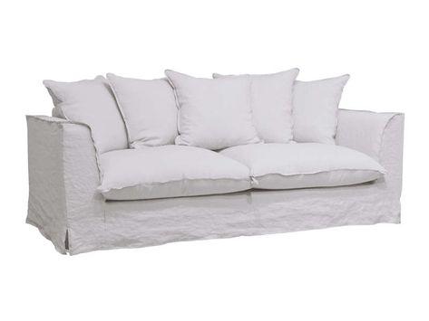 Canape Fixe 3 Places En Tissu Cocoon Coloris Blanc Vente De Canape Droit Conforama Canape Fixe Canape Fixe 3 Places Canape Droit