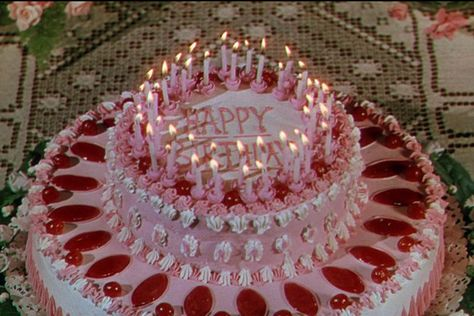 Birthday cakes from Heaven Can Wait (Ernst Lubitsch, Vintage Birthday Cakes, Happy Birthday Cakes, Aesthetic Food, Pink Aesthetic, Anime Cake, Cute Desserts, Just Cakes, Retro Recipes, Piece Of Cakes
