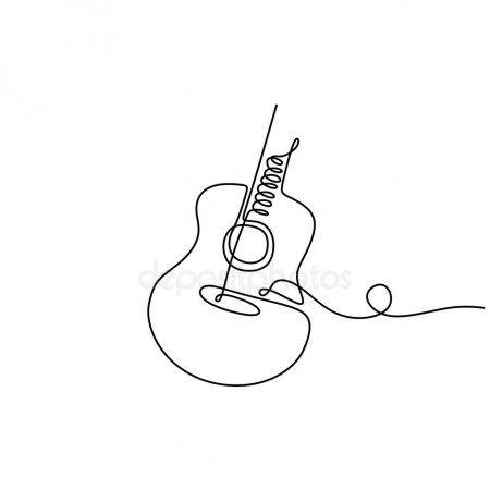 One Line Drawing Acoustic Guitar Music Instrument Vector Illustration Minimalist Spon Acoustic Guitar Line Art Drawings Guitar Drawing Abstract Line Art