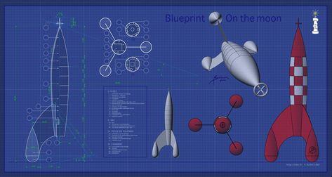 Tintin On The Moon Blueprint By Osx59 En 2019 Fusée