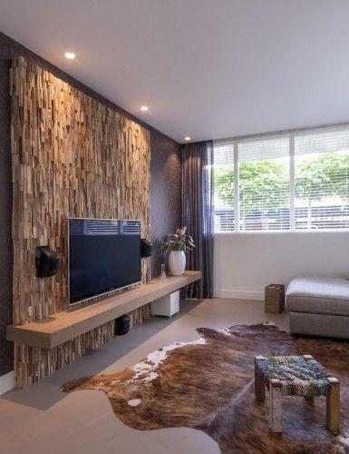 Moderne Woonkamer Inspiratie Met Wandafwerking Van Hout Scandinavische Woonkamers Thuisdecoratie Design Woonkamers