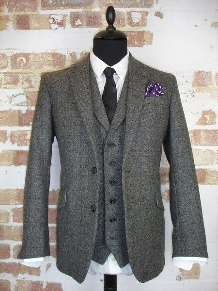 3 Piece Grey Tweed Wedding Suit
