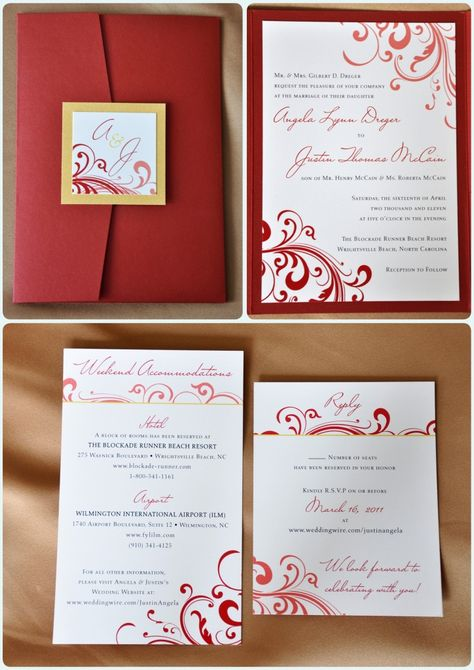 Red and Gold Swirl Pocketfold Wedding Invitations | emDOTzee Designs Blog | Wedding Invitations & Stationery