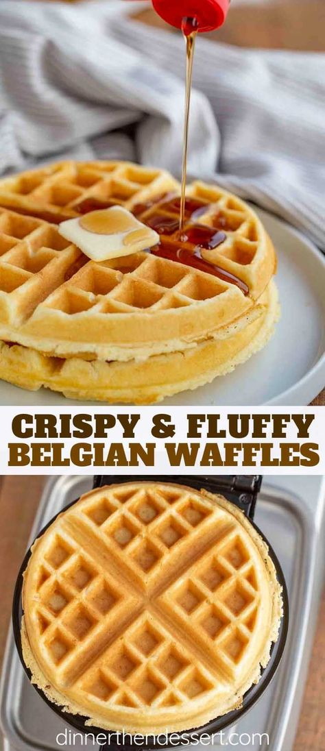 Belgian Waffles are crispy on the outside and fluffy on the inside and EASY to make; ready in only a few minutes with pantry ingredients! #breakfast #brunch #waffles #belgianwaffles #dinnerthendessert