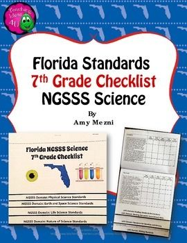 Florida Standards NGSSS Science 7th Grade Checklist Layered Flap Book