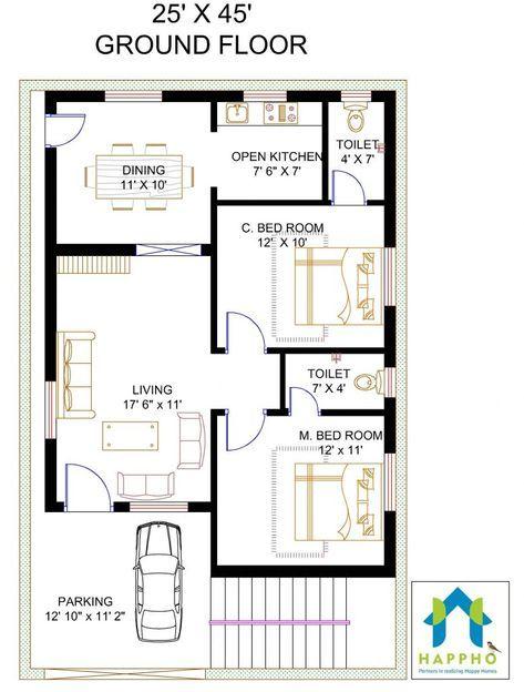 20×40 House Plan 2bhk 2 Bhk Floor Plan for 45 X 25 Plot 1125 ... on 10 x 20 house, 12 x 20 house, 15 x 20 house, 20 x 20 house, 8 x 20 house, 16 x 20 house,