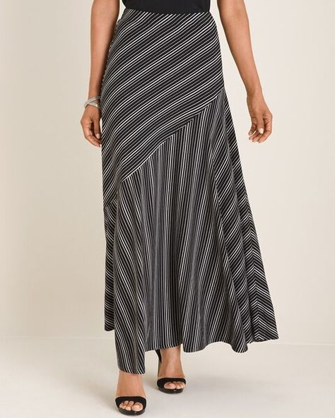 Chico's Women's Black and White Striped Maxi Skirt