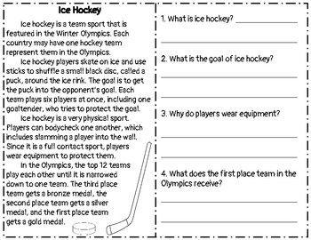 Winter Sports Reading Comprehension Passage Questions Ice Hockey Reading Comprehension Passages Comprehension Passage Reading Comprehension