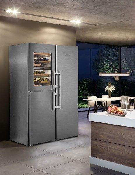 Side By Side Einbau Kuhlschrank In 2020 Wine Storage Refrigerator Freezer Wine Cabinets