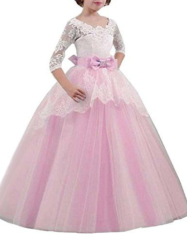 New Girls Bridesmaids dress with Flowers Pink Princess Wedding Prom babies