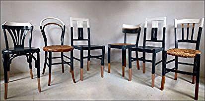 Ensemble De 6 Chaises Depareillees Style Vintage Bistrot Thonet Baumann Cuisine Relookees Blanc Gris Bois Cuivre In 2020 Furniture Design Furniture Home Decor
