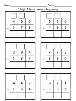 3 Digit Subtraction With Regrouping Math Subtraction Teaching Subtraction Kids Math Worksheets
